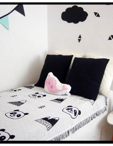 Manta Plaid algodón Osos Panda infantil.